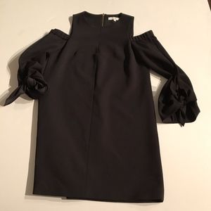 Tibi Cold Shoulder Tie Sleeve Crepe Mini Dress 0